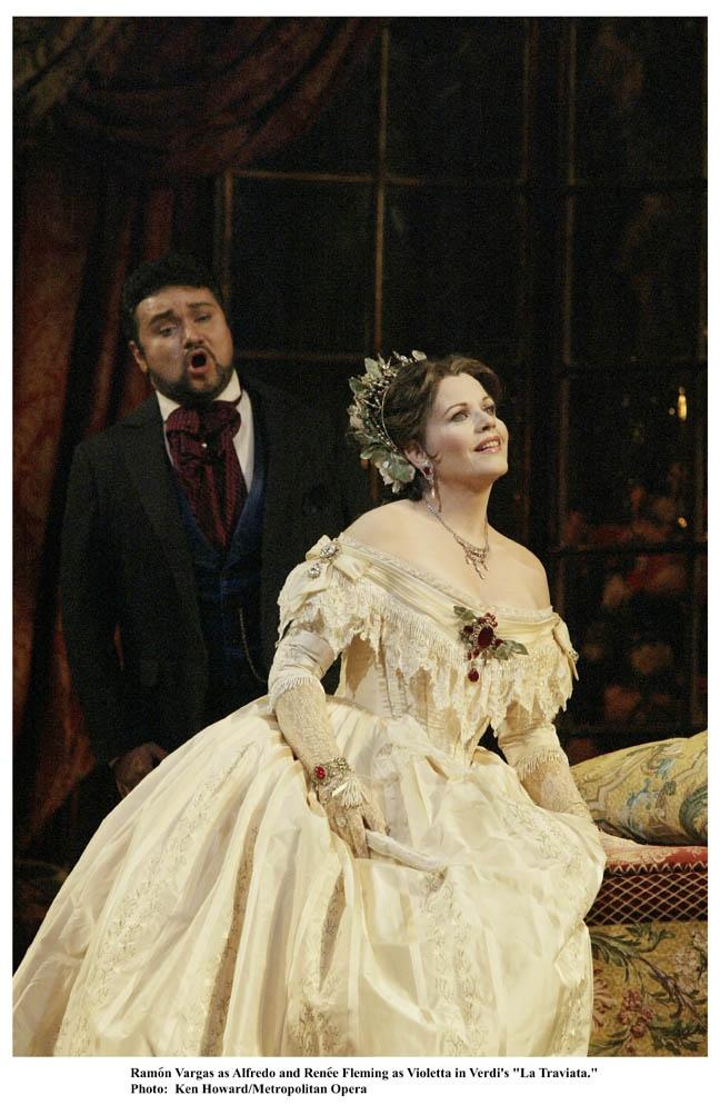 Ramón Vargas, tenor, as Alfredo, and Renée Fleming, soprano, as Violetta, in Giuseppe Verdi's LA TRAVIATA. Metropolitan