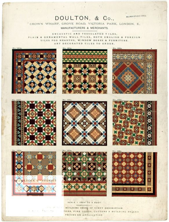 Encaustic and tesselated tiles, plain and ornamental wall tiles ... art decorated tiles to order Catalogue of floor tiles Publication  Doulton and Company, publisher, about 1900  This catalogue of floor tiles was produced for manufacturer Doulton and Co in about 1900. Geometric tiles were popular for hallway floors until about 1905.