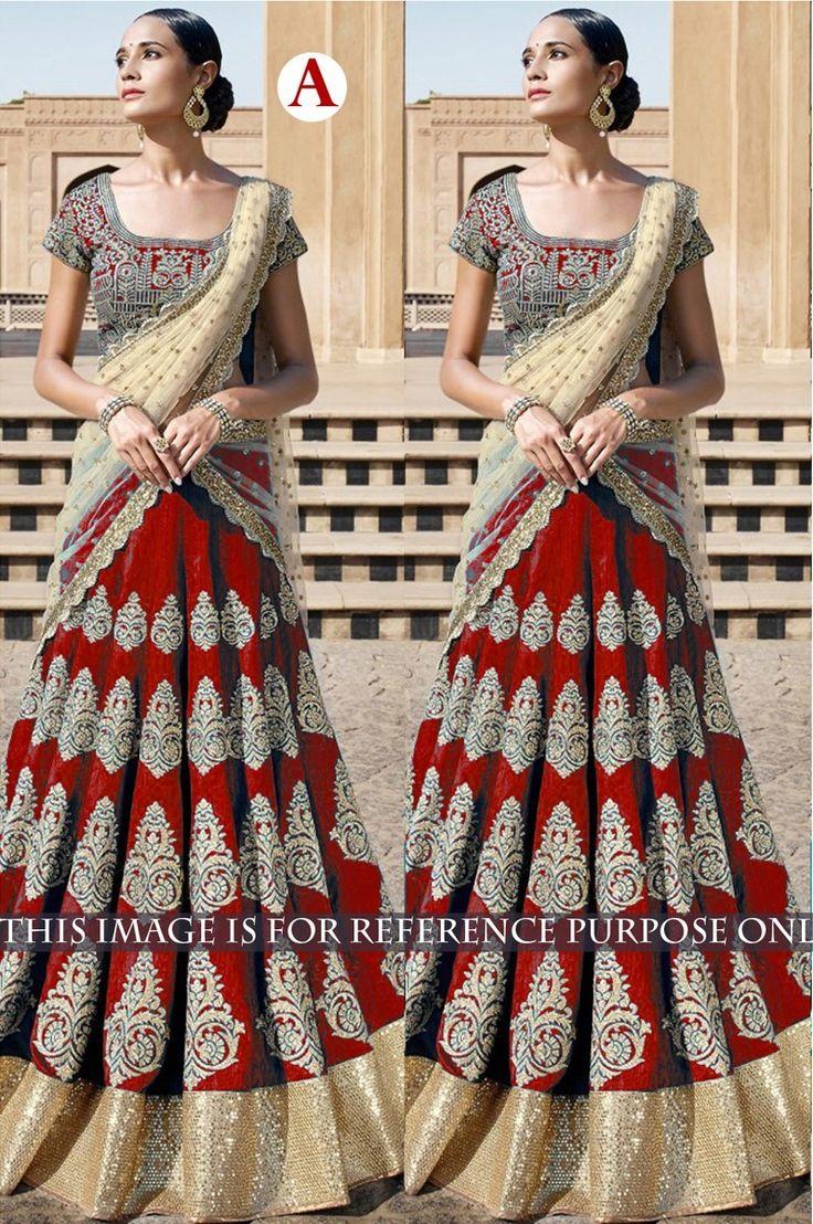 Bhagalpuri+Silk+Machine+Work+Red+Semi+Stitched+Lehenga+-+KKVF at Rs 2950