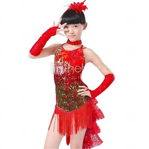 Latin dans Outfits Kinderen Prestatie Polyester / Lycra Pailletten / Kwastje(S) Blauw / Rood / Geel Latin Dans / Uitvoering Mouwloos 2805157 2016 – €48.99