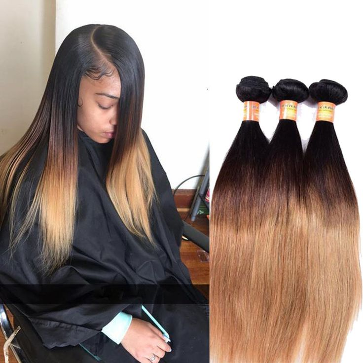 "300g 20"" Real Human Hair Extension 3Bundles 1B/4/27 Straight Hair Weft Weave #Unbranded #StraightBundle"