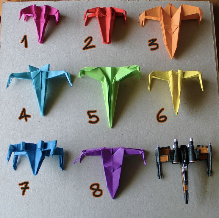 instructions for 8 different origami star wars x-wing starfighters for may the 4th