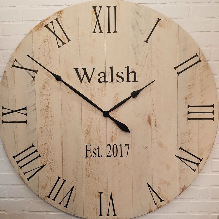 """42"""" Large Wall Clock Rustic White"""