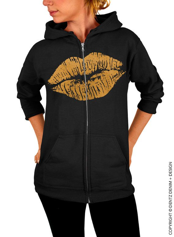 "Use coupon code ""pinterest"" Lips Zip Up Hoodie - Lipstick Kiss Zip Up Hoodie - Valentine's Day - Black with Gold Zip Up Hoodie by DentzDenim"