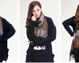 Ručne tkaný kašmírovo - bavlnený šál - vzor 07