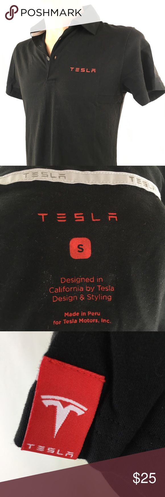 """Tesla Motor Mens Polo Small Black Red Letter Logo Brand: Tesla Motor, Inc Size: Small Color: Black, Red Description: Tesla printed above left breast. Logo to middle upper back Condition: Good pre-owned conditioned  Measurements are taken flat laid and approximated. CHEST    20"""" Length     29"""" Sleeve     7"""" CUFF      6"""" Tesla Shirts Polos"""