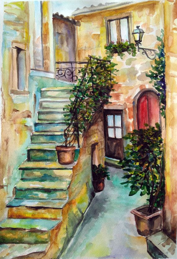 Italian courtyard City landscape Original by PaintingByAHeart