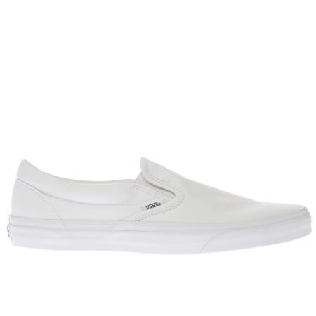 mens white vans classic slip on trainers | schuh