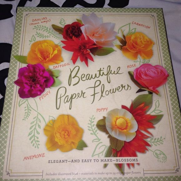 DIY paper flowers craft kit Super fun craft for a rainy day! You can even display these in your home. Includes 24 sheets of different colored crepe paper, floral wire, floral tape, 24 stamens, and 'Beautiful Paper Flowers', a 64 page project book that includes templates for nine flowers plus a variety of leaf designs. Other