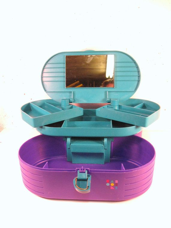 Vintage 80s Caboodles purple and teal makeup storage by StephieD, $30.00
