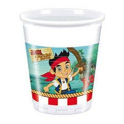 Copos de plástico para festas de aniversário do tema Jake e os piratas da terra do nunca / Jake and the Neverland pirats Disposable plastic Cups