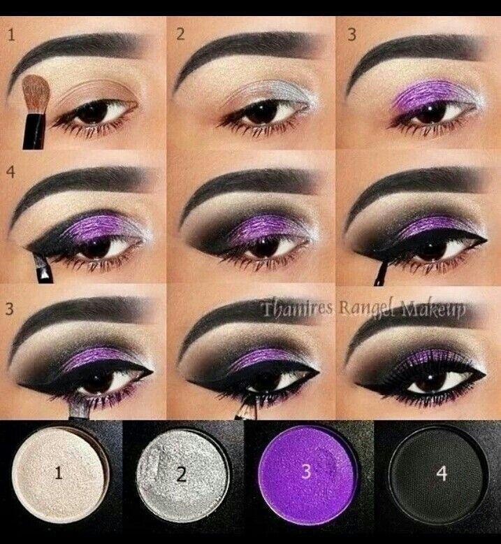 Step by step. Black & purple makeUp @richelinet