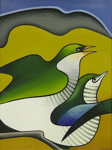 'Pipiwharauroa mating', oil on board by Don Binney, NZ.