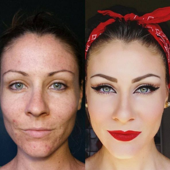 13. This lovely makeup job turned this woman into a modern-day Rosie the Riveter.