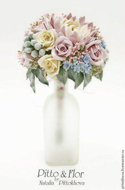"""Букет цветов из полимерной глины """"Георгины и розы"""". Handmade."""