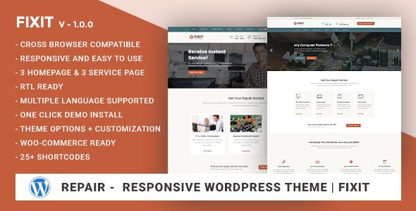 Phone, Computer Repair Shop Responsive WordPress theme - Fixit