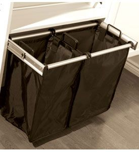 Organize your dirty laundry and sort it immediately when you have the 24 Inch Pull-Out Double Laundry Hamper