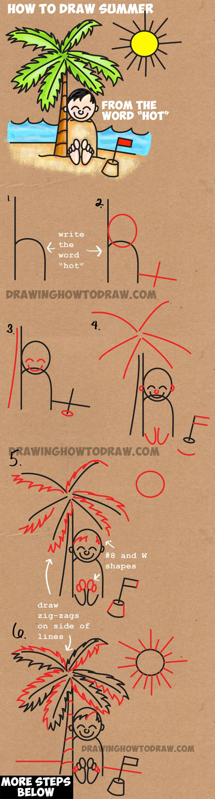 Learn How to Draw a Cartoon Boy Buried in Sand Summer Beach Scene - Simple Step by Step Word Cartoon Drawing Lesson for Kids