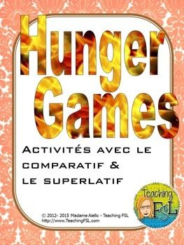 This Hunger Games-inspired (trademark Suzanne Collins & Lionsgate) French teaching package for le comparatif and le superlatif contains 6 pages of oral and writing activities plus a page of directions for a classroom survey activity.  I originally created it to accompany the old Pearson Education On Y Va 2 unit called Bizarre et Fascinant, but it can stand on its own as well.If you and your students enjoy this activity, please take a moment to rate it.