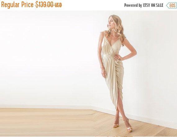 Wrap maxi gown Gold sexy dress  Bridesmaids gold by BLUSHFASHION