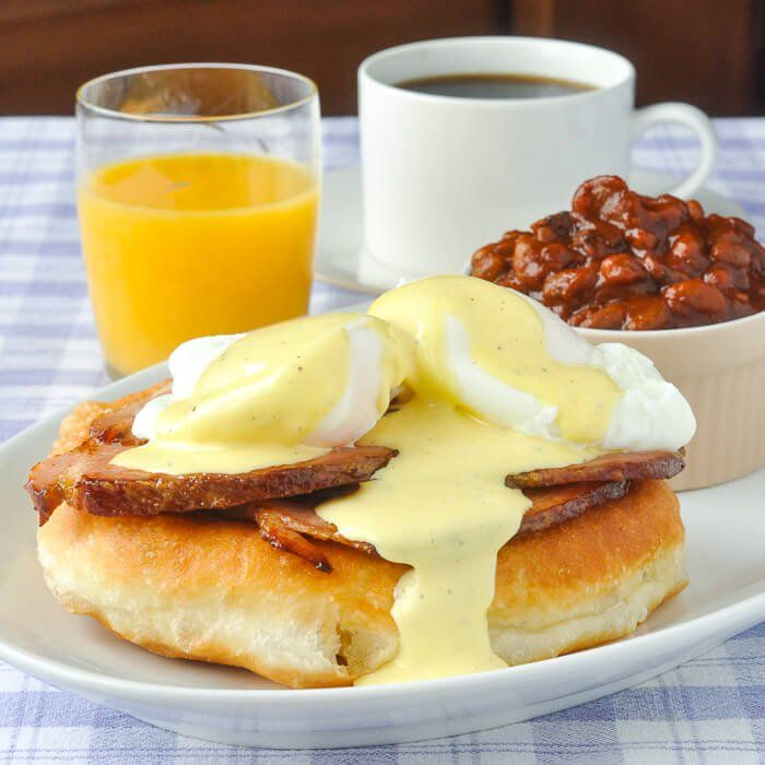 """Newfoundland Fried Bread """"Toutons"""" form the base of this delicious Toutons Benedict with lightly fried baked ham and a summer savoury Hollandaise Sauce."""