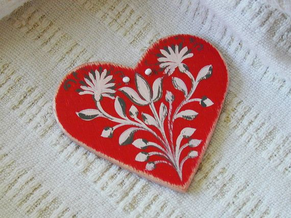 Amity - Series 01 - red, handpainted wood laminate heart inspired by traditional, historic Transylvanian style