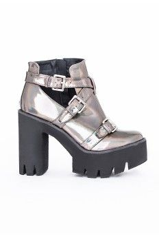 Danni Cleated Sole Buckle Boots Holographic