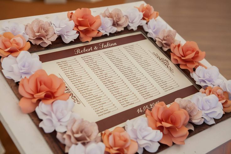 Lovely paper rose frame for the reception guest list For the love of paper roses, Alina Papercrafted.  #paperroses #frame #guestlist #wedding #reception #blush #peach #white #vintage #paperflowers