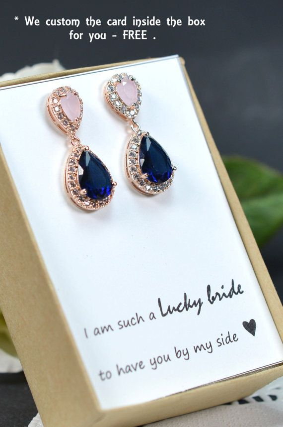 Blush pink navy blue ROSE GOLD Wedding Jewelry Bridesmaid Gift Bridesmaid Jewelry Bridal Jewelry earring Drop dangle Earring,bridesmaid gift   Save $15 when you purchase 3 PCS Set (Bracelet+Earrings+Necklace)  THESE EARRINGS CAN BE MADE WITH ANY COLOR COMBO . YOU CHOOSE DIFFERENT COLOR OR SAME COLOR . MESSAGE ME AT CHECK OUT FOR THE TOP COLOR & BOTTOM COLOR YOU WANT   ►►► Materials: - Cubic Zirconia , with facets equivalent to a diamond -Top color : Blush pink and bottom color navy blue and…