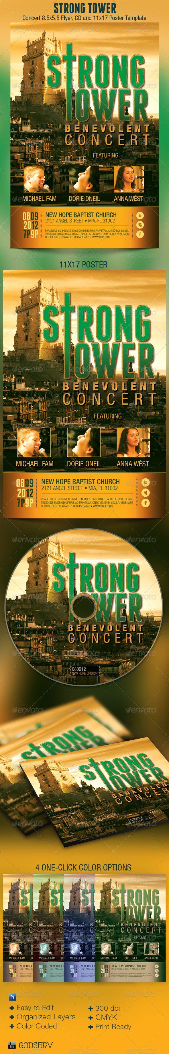 Strong Tower Church Flyer Poster CD Template | Concert flyer