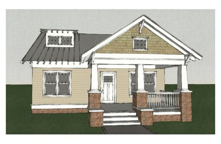 Front Elevation Of House With Porch : I want a craftsman bungalow with tapered front porch