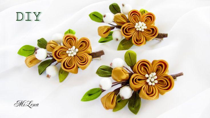 ЗАЖИМЫ-ВЕТОЧКИ, МК / DIY KANZASHI SPRING FLOWER HAIR CLIP
