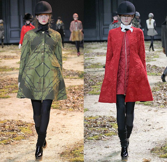 Moncler Gamme Rouge 2015-2016 Fall Autumn Winter Womens Runway Catwalk Looks - Mode à Paris Fashion Week Mode Féminin France - Equestrian Horse Riding Country Tweed Checks Plaid Tartan Plastic Rainwear Chunky Knit Camouflage Shearling Furry Mohair Helmet Leggings Boots Turtleneck Embroidery Poncho Jacket Multi-Panel Vest Waistcoat Tiered Dress Moto Motorcycle Biker Rider Leather Quilted