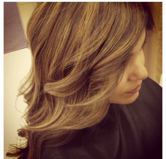Natural hair color (honey brown) with light caramel ...