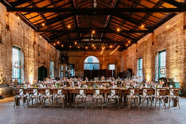industrial wedding reception - photo by Tory Williams http://ruffledblog.com/georgia-railroad-museum-wedding
