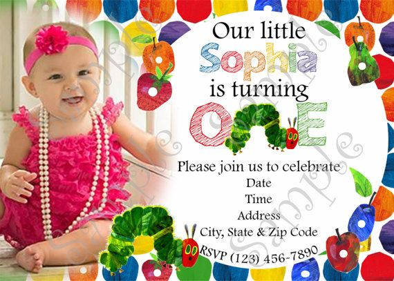 This listing is for a PRINTABLE Very Hungry Caterpillar Birthday Party Invitation 4x6 or 5x7 inches that will come in the form of a 300 dpi