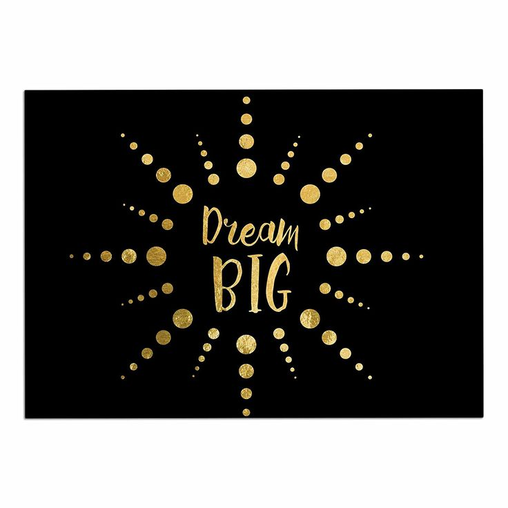 KESS InHouse NL Designs 'Dream Big' Black Gold Dog Place Mat, 13' x 18' ** Find out more details by clicking the image : Dog food container