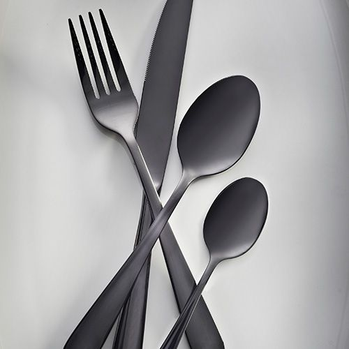 4 x Table forks 4 x Table knives 4 x Dessert spoons 4 x Tea spoons  Viners High Fashion Exclusives Black Titanium 18/10 Stainless Steel Cutlery - with over a century of cutlery manufacturing experience, Viners is highly distinguished, trusted and much loved cutlery brand, steeped in British Heritage. Viners origins date back to Sheffield in the early 1900s, since then Viners have maintained a tradition which combines best in class materials and cutting edge technologies to produce elega...