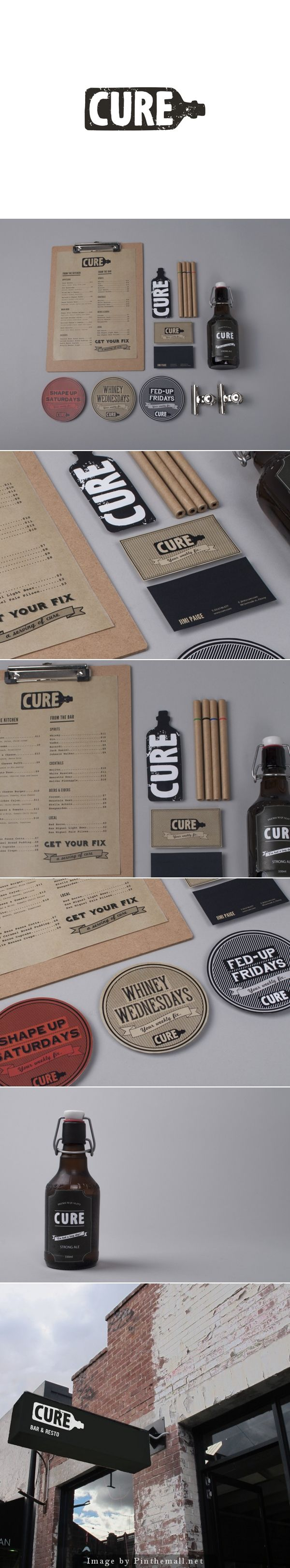 Cure restaurant and bar branding by Bae de Jesus. - created via http://pinthemall.net