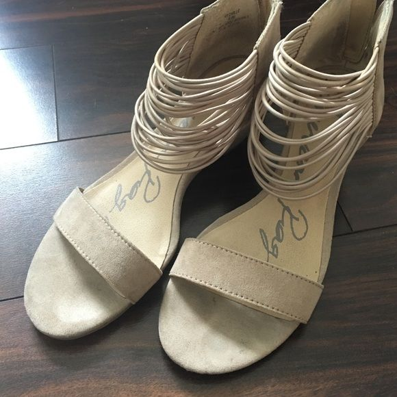 American Rag nude wedges Super cute low wedges. Barely worn. Zips in the back. American Rag Shoes Wedges