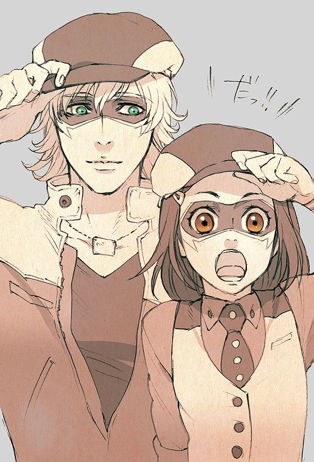 Tiger & Bunny, Barnaby and Kaede cosplaying as Wild Tiger.