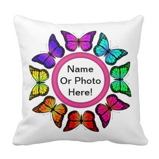 PERSONALIZE ME! Rainbow Butterfly Pillow - Add your name or photo to this beautiful multi-coloured butterfly pillow! The other side of this pillow has lots of little butterflies fluttering around.
