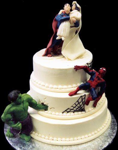 superhero Wacky and Crazy #Wedding Cakes. I'm speechless on some of these! #ww http://www.surfandsunshine.com/crazy-wedding-cakes/