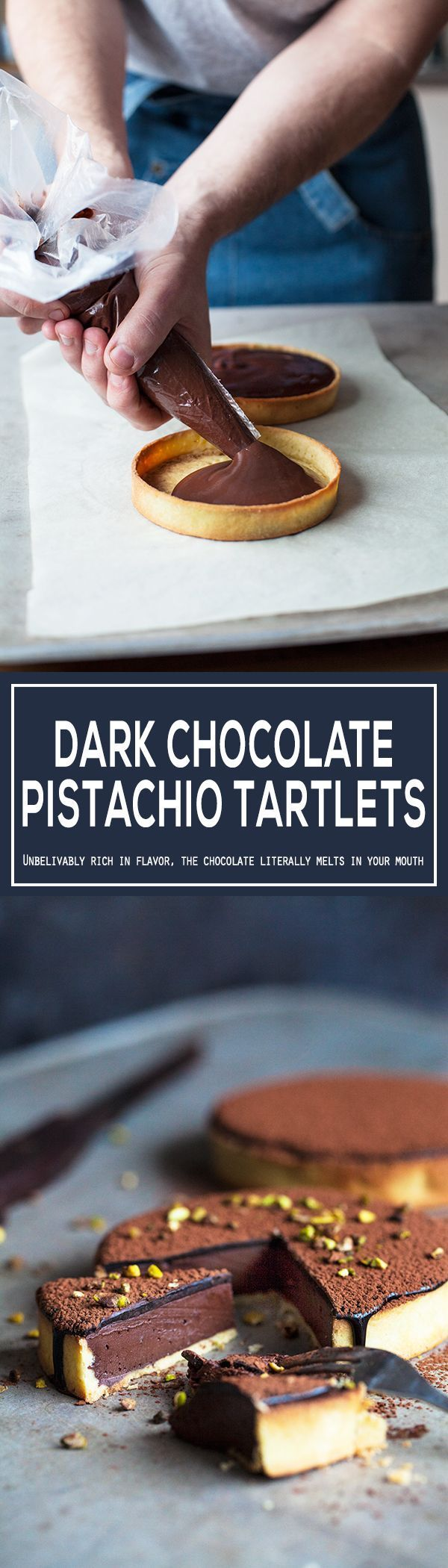 The best dark chocolate tart with a silky cacao glaze and pistachios. It is really easy to make, easier than it looks. Made with homemade tart shells with the most flaky crust ever. Simple recipe, beautiful dessert. | http://jernejkitchen.com