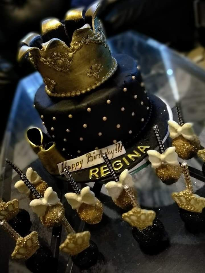 Remarkable Black And Gold Royal Queen Cake And Cake Pops 50Th Birthday Funny Birthday Cards Online Inifodamsfinfo