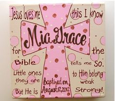 Personalized hand painted girls baptism cross canvas art with prayer verse
