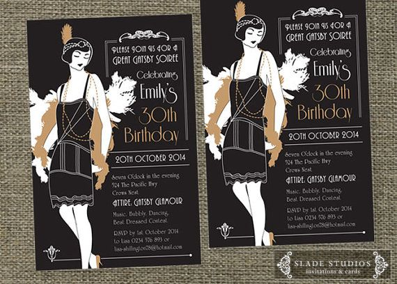 Great Gatsby Glamour 1920s Flapper Party Invitation. Printable Art Deco style party invitations.