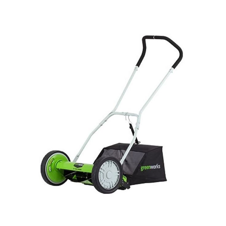 """GreenWorks 25052 2-in-1 Reel Lawn Mower with 16"""" Cutting Width and Grass Catcher Push Lawn Mowers Walk Behind Mowers Reel"""