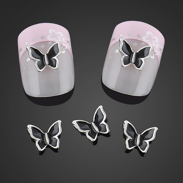 Beauty Black Butterfly Nail Art Decorations Alloy 3d Nail Charms Jewelry Glitter Alloy Nails Tools Free Shipping