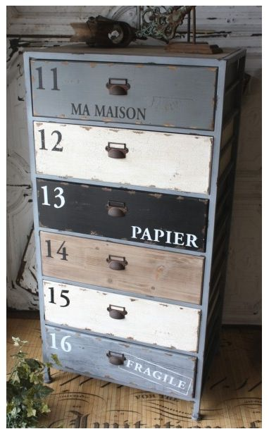 Text + worn colors; I have an old dresser that I could experiement this on...